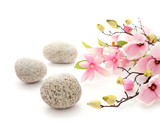 SPA still life - pebbles and flowers - 141683873
