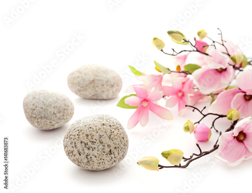 SPA still life - pebbles and flowers