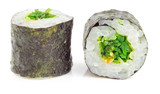 Sushi roll with seaweed salad