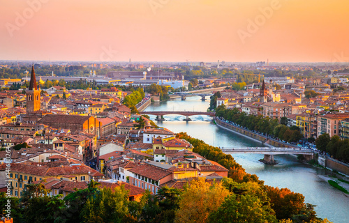 Staande foto Rome Beautiful sunset aerial view of Verona, Veneto region, Italy.