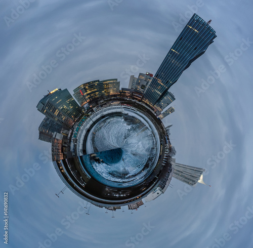 Poster Abstract presentation of the Danube island in Vienna as a little planet