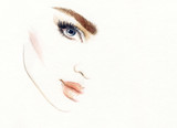 Woman face. Fashion illustration. Watercolor painting