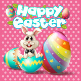 Happy Easter with bunny and eggs on pink background