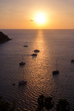 The different boats in sunset. The different boats sailing in sunset light in the ocean. Vertical outdoors shot.