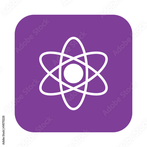 Atom flat icon, filled vector sign, colorful pictogram on rounded square button isolated on white. Science symbol, logo illustration. Flat design, pixel perfect
