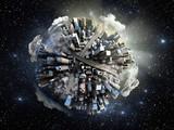 megalopolis aerial view 3d render image in space
