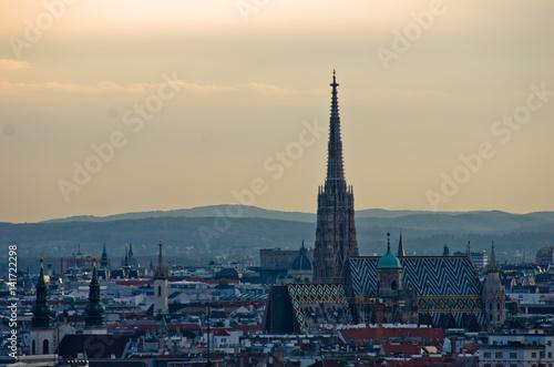 In de dag Rio de Janeiro Vienna cityscape at sunset - city of thousand churches, Austria