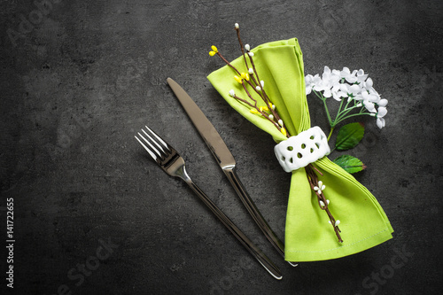 Spring Table setting at dark slate table.