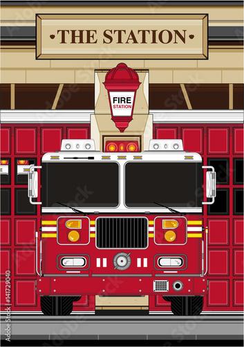 Kreskówka wozu strażackiego w domu stacji
