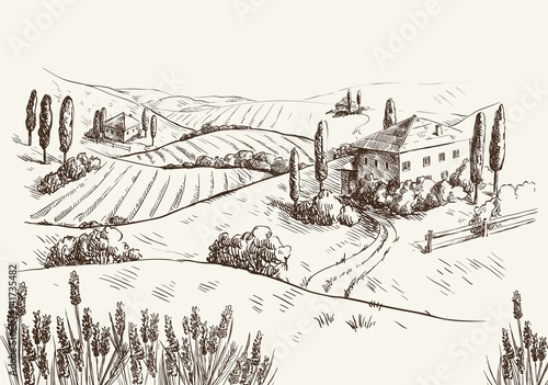 Papiers peints Blanc village houses and farmland