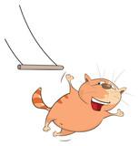 Illustration of a Cute Cat Acrobat. Cartoon Character