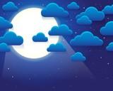 Night sky with stylized clouds theme 1