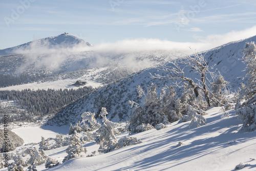 Winter in Karkonosze - Fog, frost nad snow Sniezka