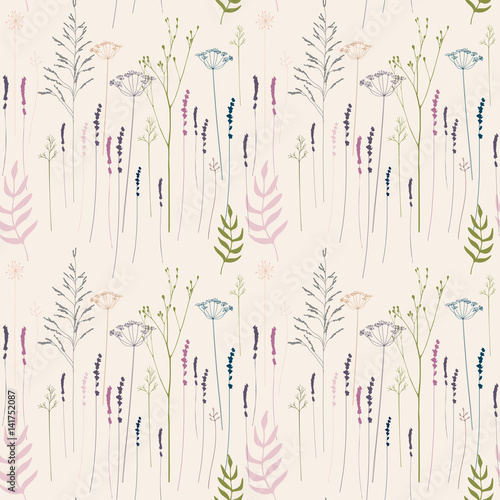 Floral vector seamless pattern with hand drawn  wild flowers, herbs and grasses.Thin delicate lines silhouettes of  fennel, dill, lavender and other plants in pastel colors on beige background  - 141752087