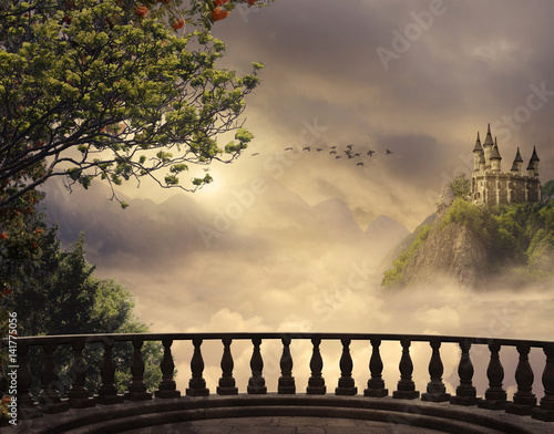 Leinwanddruck Bild Fantasy castle and balcony in the mountains. 3D rendering