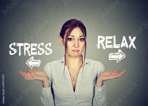 Poster Stress or relax. Confused woman shrugging shoulders doesn't know