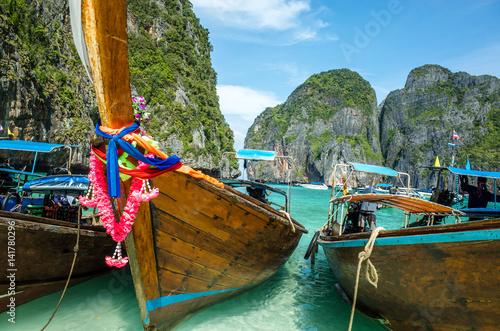 Boats on the shore of the beach, Phuket, Thailand