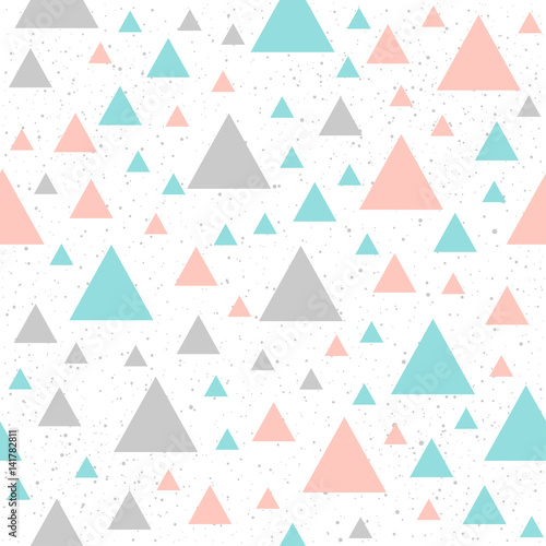 Soft pastel triangle seamless background. Grey, pink and blue triangle. - 141782811