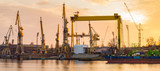 Silhouettes of cranes and cranes in an industrial area after a former shipyard in Szczcecin, now revitalized - 141786838