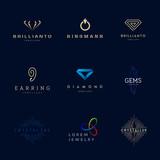 Jewellery company logos set.