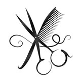 Fototapety Scissors, comb and hair silhouette
