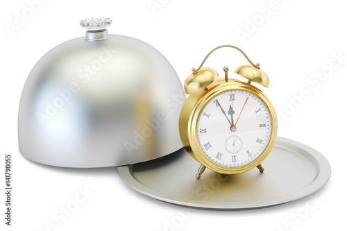 Restaurant cloche with alarm clock, 3D rendering
