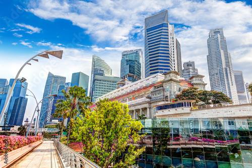 Singapore Landmark Skyline at Fullerton on Esplanade Bridge Poster