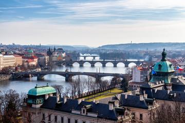 View of Charles Bridge (Karluv most) and Old Town Bridge Tower, Prague, Czechia