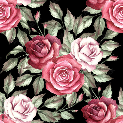 Seamless pattern with roses. Hand draw watercolor illustration - 141810085