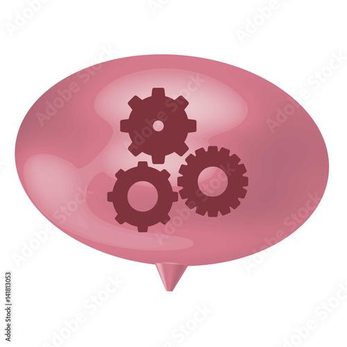 pink bubble gear icon, vector illistration design