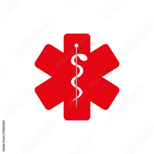 red medice sign inside of star, vector illustration design
