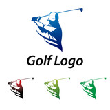 Golf Logo Abstract Swing and Hit the Ball