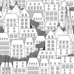 Hand drawn seamless pattern of Luxembourg style houses