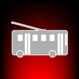 Trolleybus sign. Postage stamp or old photo style on red-black gradient background.