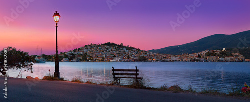 Poros town sunrise panorama in warm colours