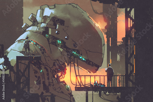 mechanicals repairing the giant robot in factory,illustration painting © grandfailure