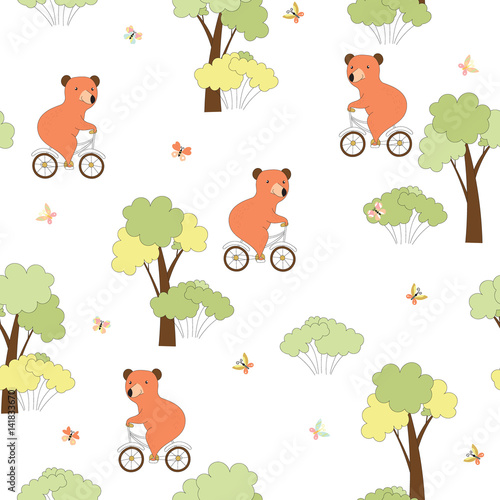 Materiał do szycia Seamless background with bear on bicycle