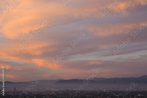 Hollywood Sunset CLouds over Mountain, wide view- Real Life Hollwood Sunset  Poster