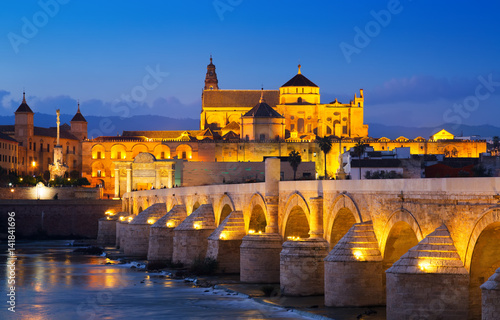 Cordoba with Roman bridge and  Mosque-cathedral in night