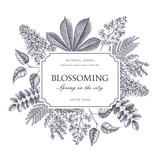 Vector card design with hand drawn blossoming trees. Floral wedding invitation template. Vintage flower illustration - 141855838