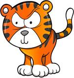 Tough Tiger Vector Illustration Art