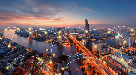 Network and Connection Technology Concept of U-Curve of Chao Phraya River, Bangkok City, Thailand