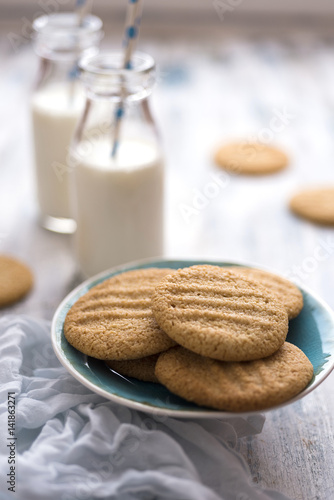 Poster Homemade cookies with milk