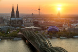 Image of Cologne with Cologne Cathedral and Rhine river during sunset in Cologne, Germany. - 141870412