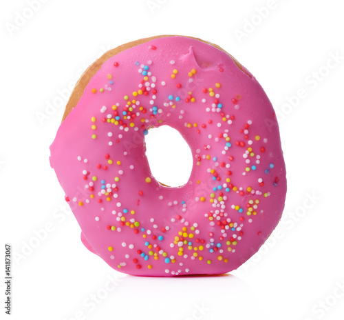 Poster Donut with sprinkles isolated on white background