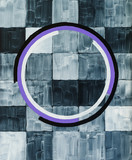 Broken concentric circles on a on a highly textured background of monochrome squares; an abstract painting. - 141874499