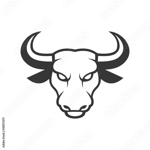 Bull Face Logo. Business Icon on a White Background. Vector