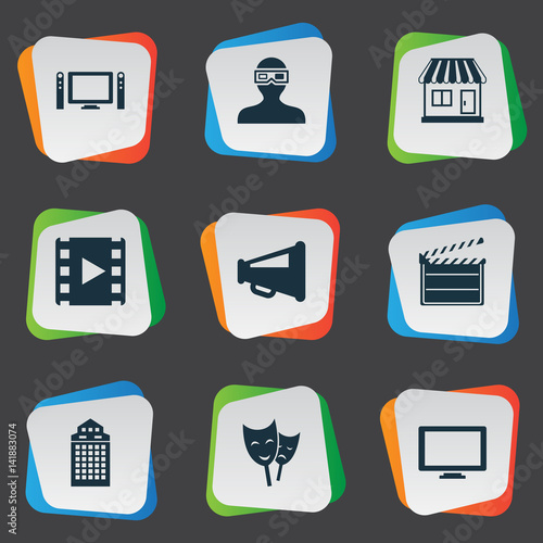 Vector Illustration Set Of Simple Cinema Icons. Elements Reel, Structure, Megaphone And Other Synonyms Drama, Monitor And Man.