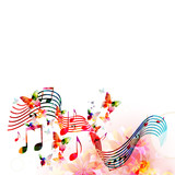 Colorful stave with music notes and butterflies isolated vector illustration. Music background for poster, brochure, banner, flyer, concert, music festival