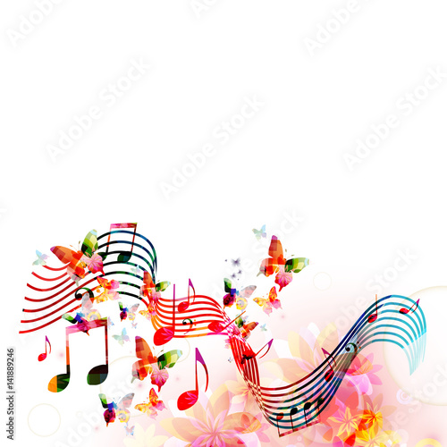Colorful stave with music notes and butterflies isolated vector illustration. Music background for poster, brochure, banner, flyer, concert, music festival - 141889246